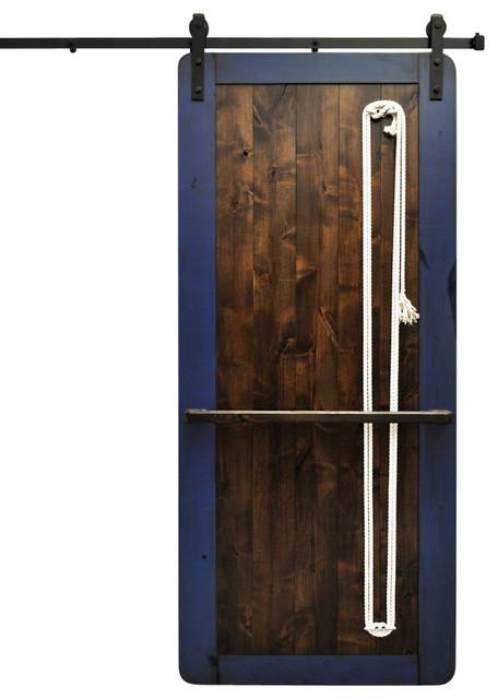 Barn door and hardware nautilus dark chocolate and blue for 48 inch barn door