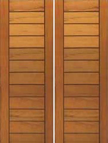 Contemporary Flush Panel Double Door Solid Tropical Wood