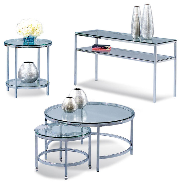 Bassett Mirror T1792 Patinoire Round Glass Top Occasional Table Set Contemporary Coffee