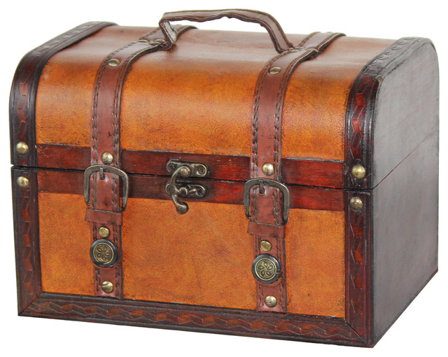 Decorative wood leather treasure box small trunk chest - Decorative trunks and boxes ...