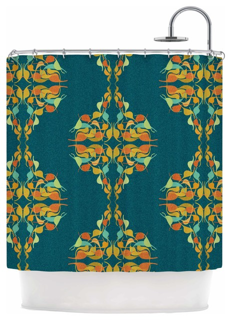 Dan Sekanwagi Turquoise Feast Teal Orange Shower Curtain Contem