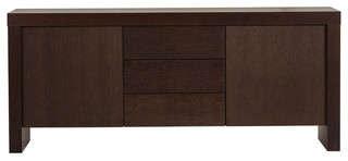 kobe 2 doors 3 drawers sideboard chocolate bauhaus. Black Bedroom Furniture Sets. Home Design Ideas