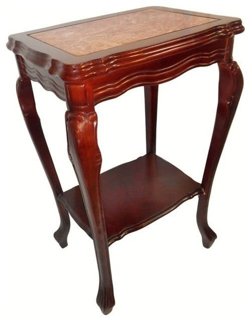 Marble top mahogany end table with shelf and cabrio leg asian side tables and end tables for Mahogany side tables living room
