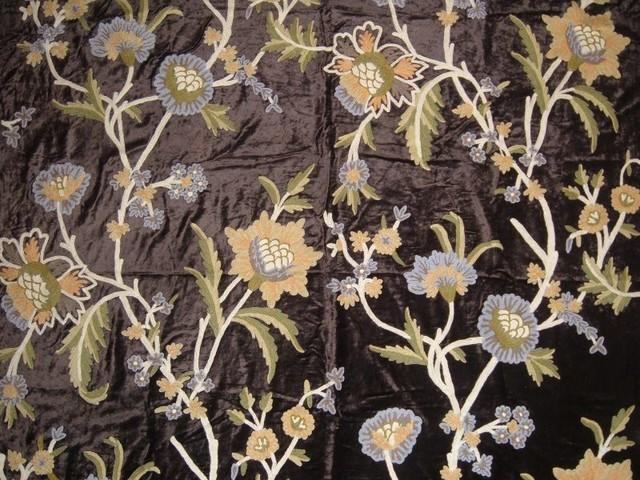 Crewel Fabric Shalimar Mint Black Cotton Viscose Velvet