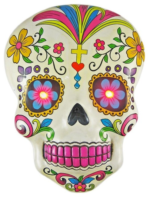 White Day Of The Dead Skull Wall Hanging With LED Eyes Contemporary Holiday Decorations By