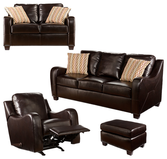 Montfort Sofa Loveseat Recliner And Ottoman 4 Piece Set