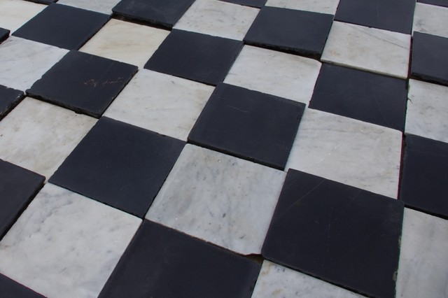Spanish Monastery Black And White Marble Eclectic Wall And Floor Tile N
