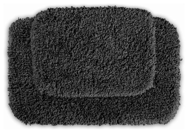 Serenity Dark Grey 2 Piece Bath Rug Set Contemporary