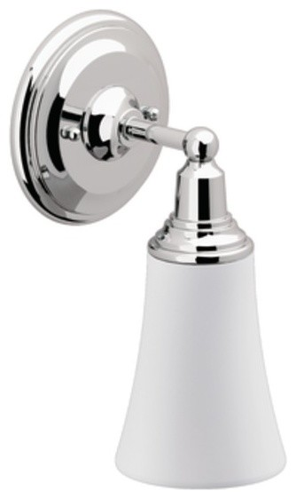 Moen rothbury chrome single bath light traditional for Traditional bathroom vanity lights