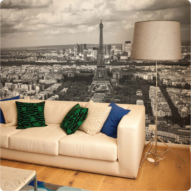 paris removable wall mural contemporary wall decals by the wall decal company. Black Bedroom Furniture Sets. Home Design Ideas