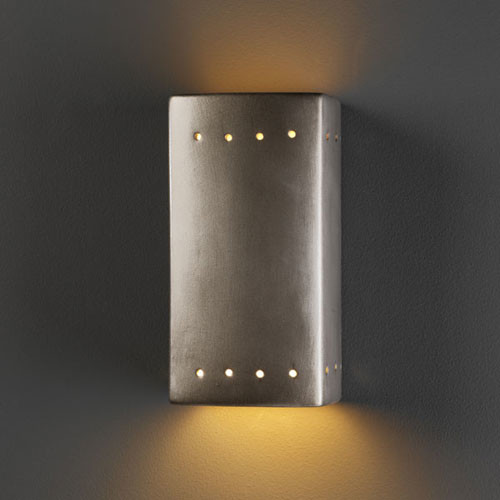 Silver Crystal Wall Lights : Ambiance Antique Silver Small Rectangle With Perfs Bathroom Wall Sconce - Modern - Bathroom ...