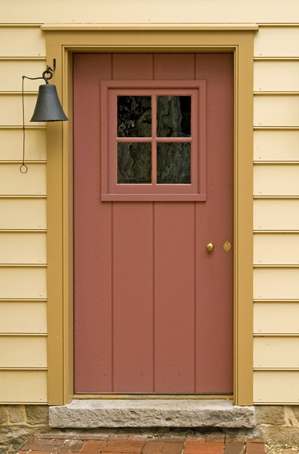Sheathed door with small sash traditional front doors for Traditional front doors
