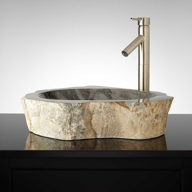 Serova Natural Stone Vessel Sink - Modern - Bathroom Sinks - by ...