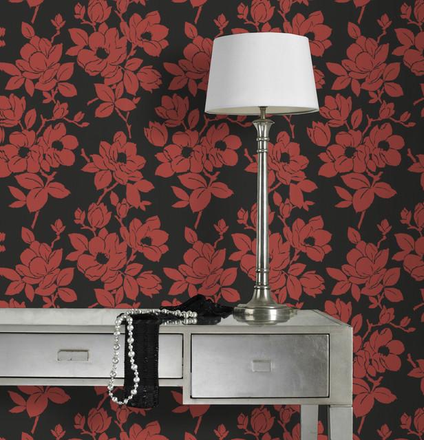Rose red black moderno papel pintado de graham brown for Papel para decorar paredes modernos
