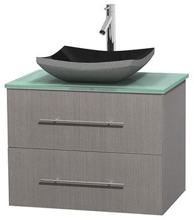 30 In Single Bathroom Vanity In Gray Oak Green Glass Countertop Altair Bla