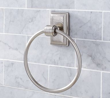 Ella Hammered Metal Towel Ring Vintage Pewter Finish Traditional Towel Rings By Pottery Barn