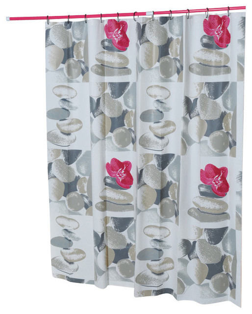 Printed Shower Curtain Spa Peva Gray 71 L X 71 W Contemporary Shower Curtains