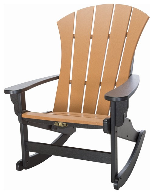 Sunrise Adirondack Rocker Black Cedar Transitional Outdoor Rocking Chair