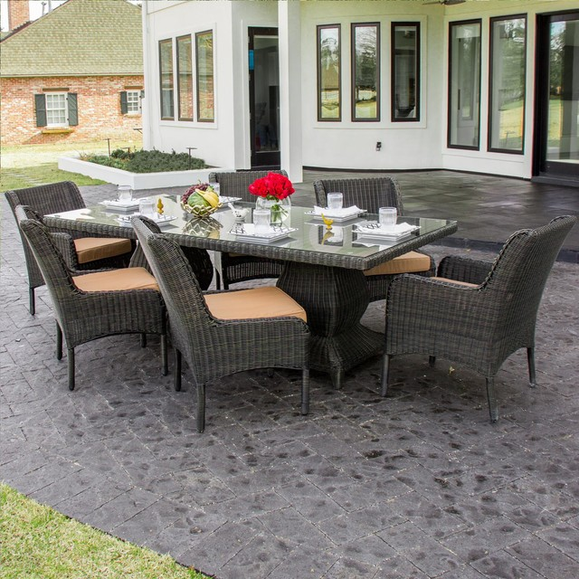 Contemporary Outdoor Dining Furniture: Bienville 6-Person Resin Wicker Patio Dining Set