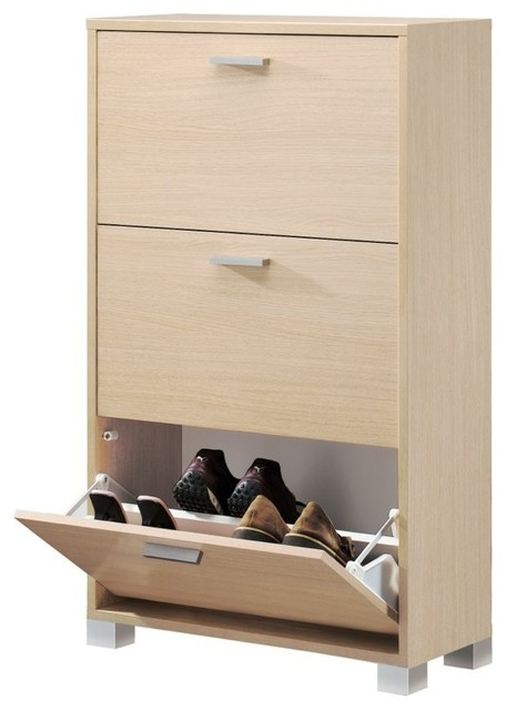 Natural Oak Shoe Rack With Folding Doors - Contemporary - Shoe Storage