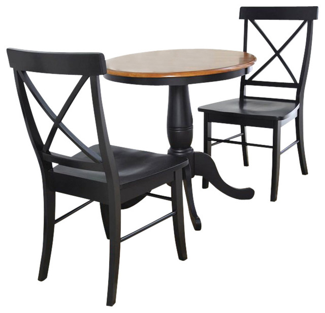 30 Quot Round Table With X Back Chairs 3 Piece Set