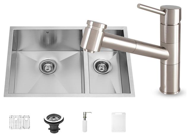 All-in-One Stainless Steel Undermount Kitchen Sink and Branson Faucet ...