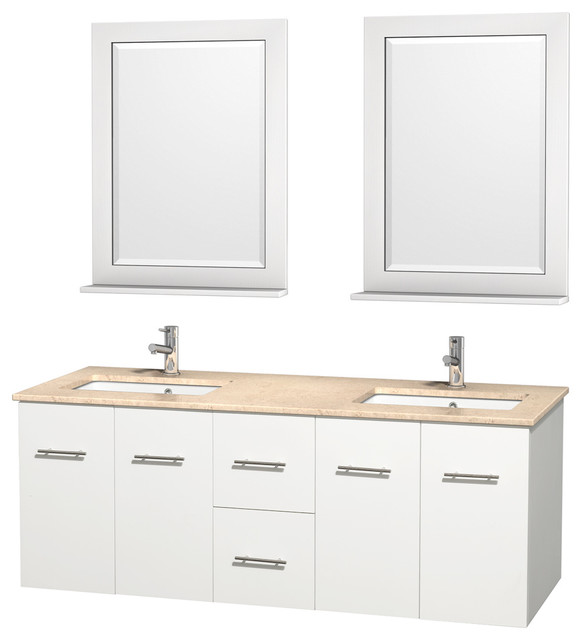 Innovative  Vanity In Espresso Ivory Marble Countertop Undermount Square Sinks