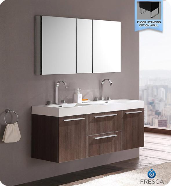 Fresca opulento gray oak modern double sink bathroom for Decorplanet bathroom vanities