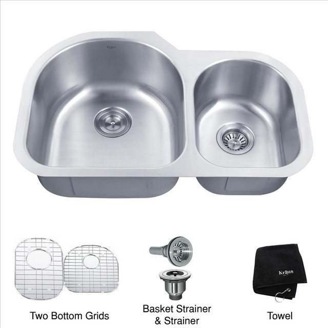 Kraus 32 Inch Undermount : Kraus 32 inch Undermount Double Kitchen Sink - Contemporary - Kitchen ...