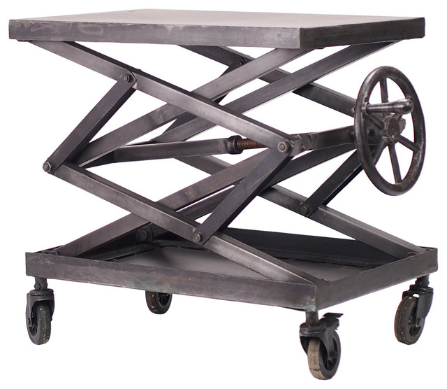 Adjustable Iron Apothecary Scissor Lift Table Industrial