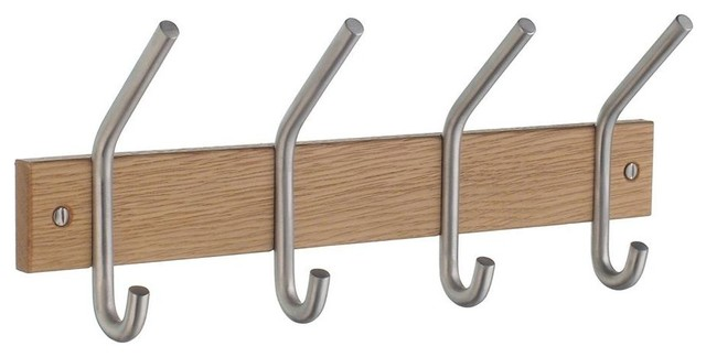 Coat and Hat Rack in Brushed Chrome Finish - Contemporary - Wall Hooks ...