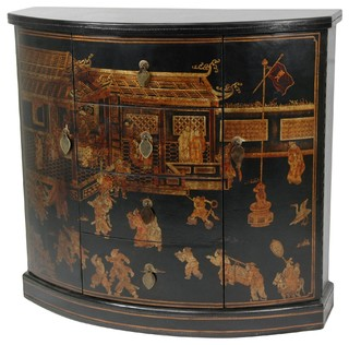 Black Lacquer Village Market Cabinet - Buffets And Sideboards - by Oriental Furniture