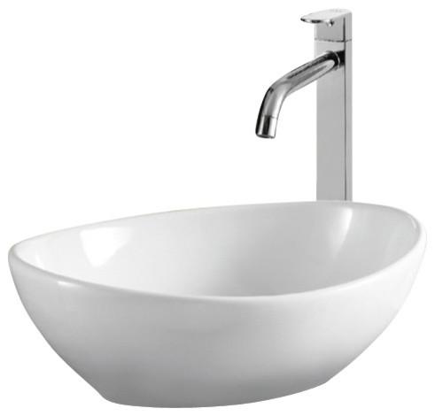 Oval White Ceramic Vessel Bathroom Sink Contemporary