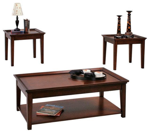 Table Set With Casters And 2 Ends Contemporary Coffee Table Sets