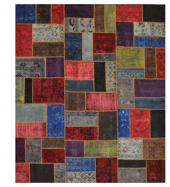 Multi Colored Patchwork Area Rug Without Borders