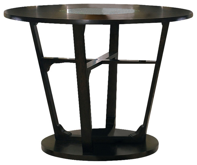 Optima counter height table w cracked glass inset in black for Cracked glass dining table
