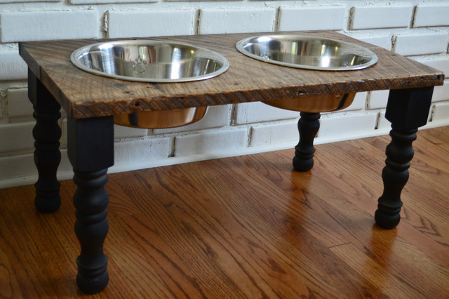 Reclaimed Wood Farmhouse Pet Feeder Eclectic Pet
