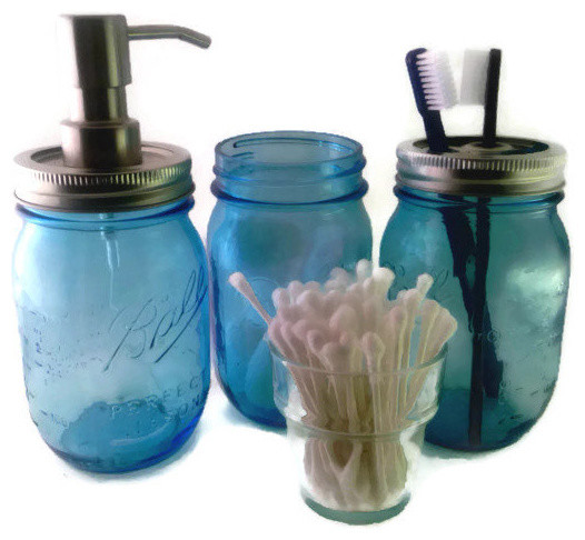 Decorative Soap Balls: Blue Mason Jar Bath Set Ball Jar Bath Set Mason Jar