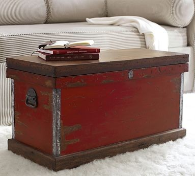 Josefa Trunk Distressed Red Traditional Decorative