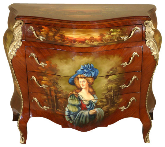 Hand Painted French Bombe Bombay Chest Commode Vanity - Victorian - Accent Chests And Cabinets ...