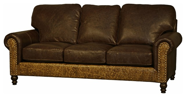 western style leather sofa rustic sofas by bitterroot bit and spur. Black Bedroom Furniture Sets. Home Design Ideas