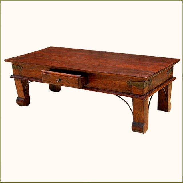 Rustic Solid Wood 1storage Drawer Sofa Coffee Table Contemporary Coffee Tables Austin By