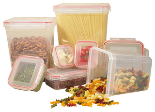14-Piece Food Container Set With Lock-and-Seal Lids - Contemporary - Food Storage Containers ...