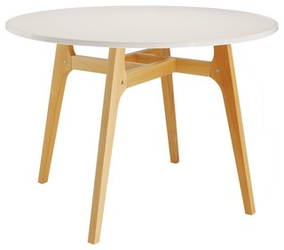 Table ronde design popwood couleur blanc scandinavian - Table ronde blanc ...