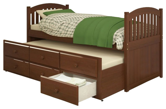 Sonax corliving heritage place solid wood twin platform bed with storage trundle transitional - Solid wood trundle bed with drawers ...