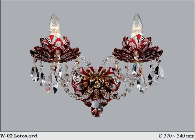 Czech Crystal Wall Lights : Bohemian Czech Crystal flash cut ruby red wall sconce - Modern - Chandeliers - adelaide - by ...