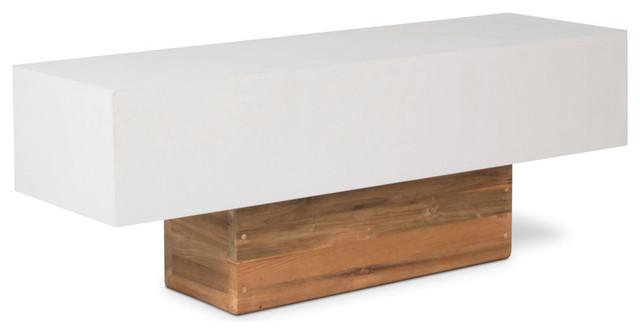 Modern Outdoor Benches : Urban Teak Bench, Ivory White - Modern - Outdoor Benches - by Seasonal ...