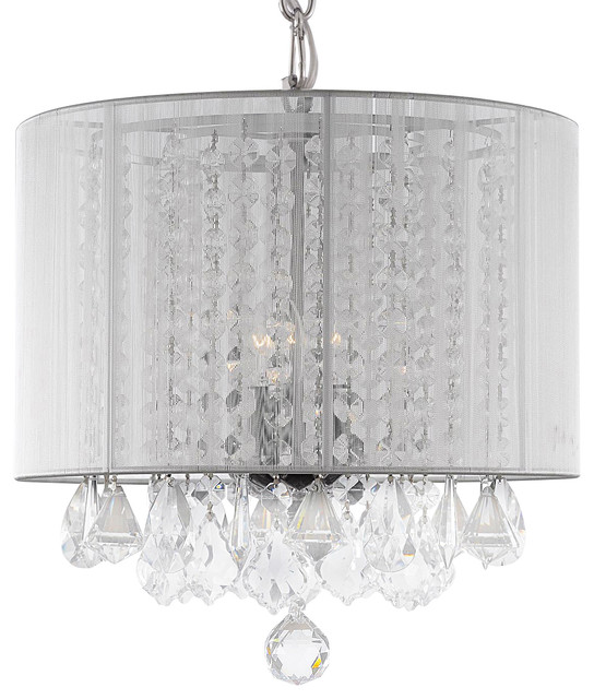 Large White Crystal Chandelier With Shade