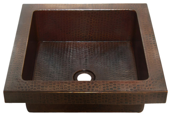 ... Raised Profile Bathroom Copper Sink with Apron rustic-bathroom-sinks