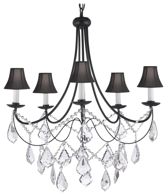 Foucaults Orb Light Crystal Chandelier Wrought Iron